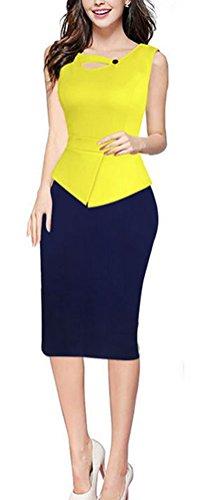 SunIfSnow Damen Schlauch Kleid, Einfarbig Gr. XXXXXL, Yellow (Outfits Indian Sexy)