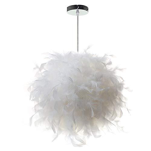 Wankd Lampe federn, Pendelleuchte, Weißer Feder Decken Anhänger Lampenschirm, moderne Hängelampe aus Metall/Kunststoff mit Federn in Weiß