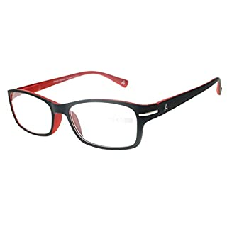 Atlantic Eyewear AE0048 Lesebrille Brillen Schwarz und Rot für Männer und Frauen mit Etui (+2,00)