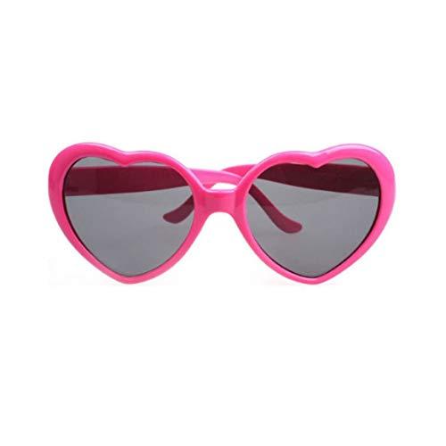 Modische Herzform Sonnenbrille kunststoffrahmen uv400 Spiegel Unisex Sonnenbrille schöne Kinder Erwachsene Brillen für die Reise (Farbe: Rose rot) (größe: für Kinder)