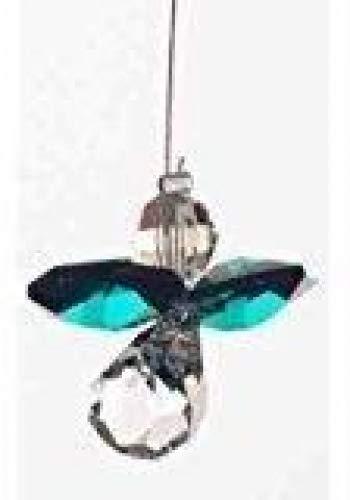 Geburtssteinanhänger, mit Swarovski-Kristallen, Motiv: Schutzengel, Geburtsmonat: Mai - Smaragd -