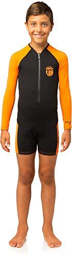 Cressi Baby Little Shark Kinder Neoprenanzug Schwimmanzug, Schwarz/Orange, 13/14 Jahre