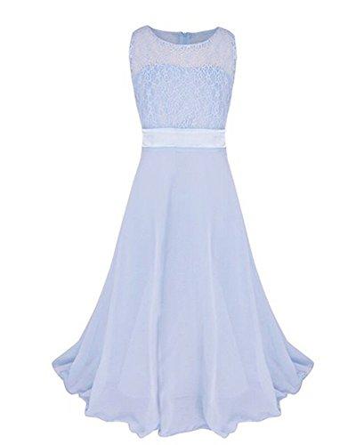 Niñas Vestidos de Encaje Vestido Largo de Ceremonia Boda Fiesta Princesa Cielo Azul 12-13 años