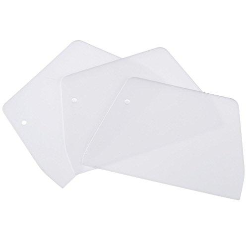 Willbond Rasqueta de Masa de Plástico Cortador Cuchillo de Tarta, Blanco, 3 Piezas