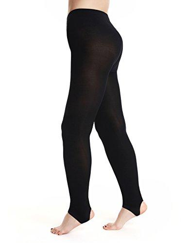 AMORETU Damen Tanz Strumpfhose Undurchsichtige Gefüttert Warme Stegstrumpfhose Schwarze 120D (Steigbügel Undurchsichtig)