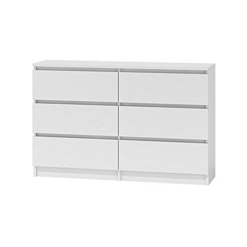 Internum Clino VI – Kommode mit 6 Schubladen in Weiß Matt Neu Günstig 120 cm breit und 77 cm hoch (Mit Schubladen 6 Möbel Kommode)