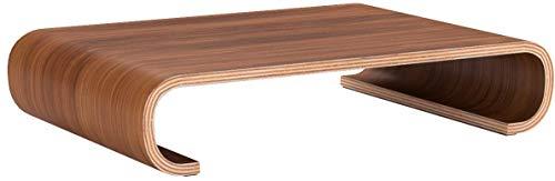 Navaris Bildschirm Holzständer TV Ständer - Computer Tisch Schreibtisch Monitorständer Bank - Schreibtischaufsatz aus Walnussholz in Dunkelbraun