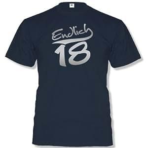 ENDLICH 18 … Herren T-Shirt Navy / Silber Gr. S