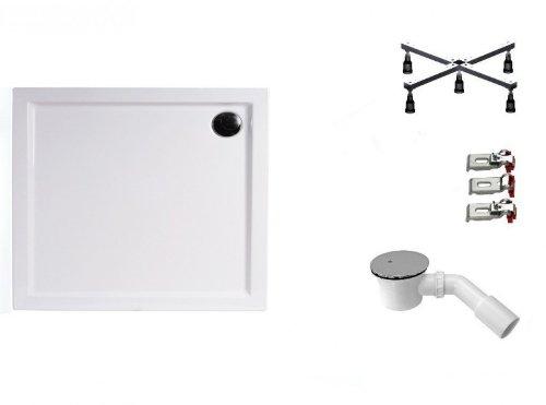 Galdem Duschwannen Set Concetta, 90x75x6,5 cm, hochwertiges Duschen komplett SET bestehend aus einer flachen Rechteck Acryl Design Duschwanne, Duschwannenfuß höhe