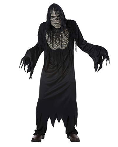 Kostüm Ghoul mit Maske & Brustapplikation schwarz-grau L ()
