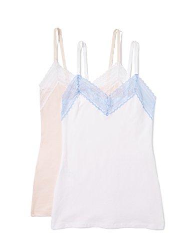 Iris & Lilly Damen Unterhemd mit Spitze, aus Baumwolle, 2er Pack, Mehrfarbig (Pearl/White), Large