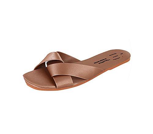 Women's Summer Outdoor Slippers Flops Female Casual Ladies Fashion Outer Wear Waterproof Flat Cross Slipper Shoes,Pink,36 Breeze Cross Strap