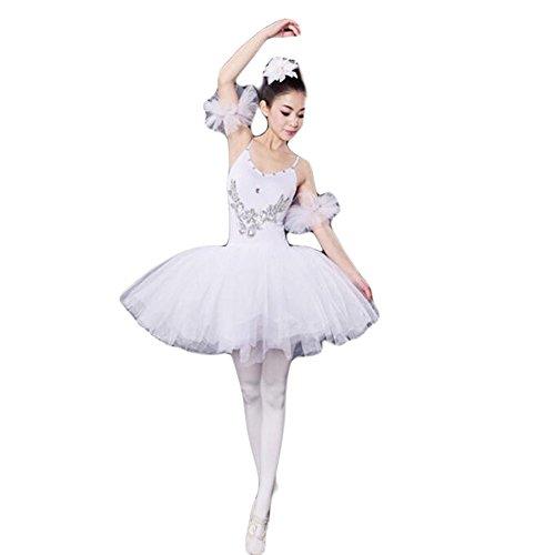 Weißen Kostüm Tanz Kleid - Black Temptation Weiß Erwachsene Ballett-Kleid/Sling Ballettrock/Schwanensee Kostüme, XL