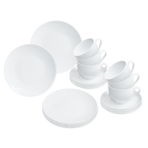 Nurso GmbH Kaffeeservice weiß/Porzellan Set, 18-teilig