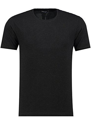 Herren T-Shirt - Rundhals - Slim-Fit/Figurbetont - Oversize - Meliert - Modernes Kurzarm Vintage Shirt Schwarz M