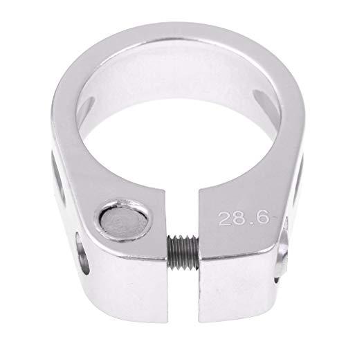 perfeclan Fahrrad Sattelklemme 28,6 mm oder 30 mm aus Aluminium - Silber, 28.6mm