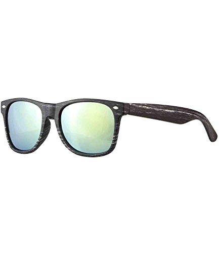 Caripe Sonnenbrille Nerd Brille verspiegelt + getönt - viele Farben - W-g (Holzoptik grau - neon...