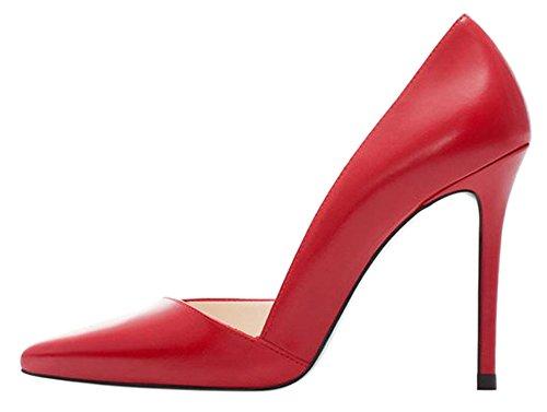 Guoar High Heels Damenchuhe Große Größe Pumps Spitze Zehen D'Orsay Rutsch Stiletto Büro-Dame Party Hochzeit Rot