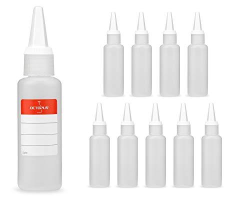 10 x 50ml Kunststoffflaschen, Plastikflaschen aus HDPE mit weißen Spritzverschlüssen bzw. Tropfverschlüssen, chemikalienresistent
