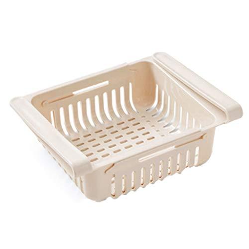 SHIBA Kühlschrank Gefrierschrank Organizer Convenient Kühlschrank Storage Rack Shelf Schublade Bequeme Lagerung Veranstalter for die Küche (Color : Beige)