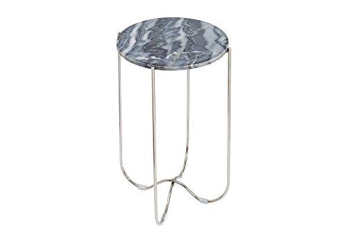 DuNord Design Beistelltisch KRETA 60cm grau Marmor Metall Naturstein Pflanzentisch Steintisch Marmortisch