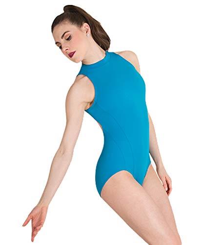 Body Wrapper Womens Mock Neck Open Back Leotard (P1210) -Ocean Blue -8-10 -