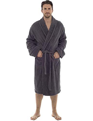 CityComfort Bata de baño para Hombres Bata de algodón 100% Terry Albornoz Albornoz Baño Ideal para Gimnasio Ducha SPA Hotel Bata Tamaño de Vacaciones M/L, L/XL, 2XL, 3XL y 4XL (L/XL, Gris carbón)