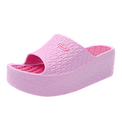 POIUDE Damen Dicke Sohlen Mode Frauen Sommer Sandalen Plateauschuhe Strand Loch EIN Wort Muffin Schaukelschuhe(Pink, 39)