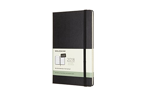 Mole Skine 8051272894424 Weekly Calendar, 12 Month, 2018, Horizontal, Ger, Hard Cover, Black