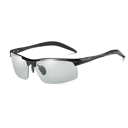 Honey Anti-UV Polarisierte Sonnenbrille - Smart Color Change - Sicheres Fahren Angeln (Farbe : Black Frame)