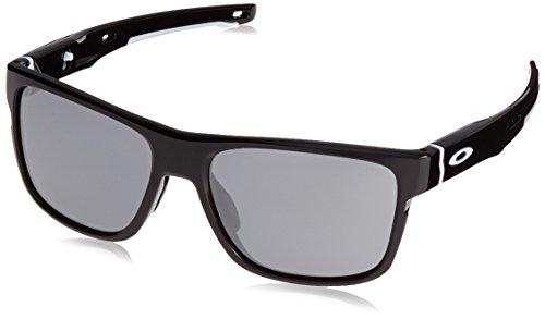 Oakley Herren Crossrange 936102 57 Sonnenbrille, Schwarz (Polished Black/Blackiridium),