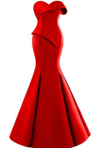 Missdressy Damen Moderne Satin Lang Meerjungfrau Traegerlos Falten Abendkleid Partykleid Abiball Abschlussball Hochzeitsgast Kleid Red