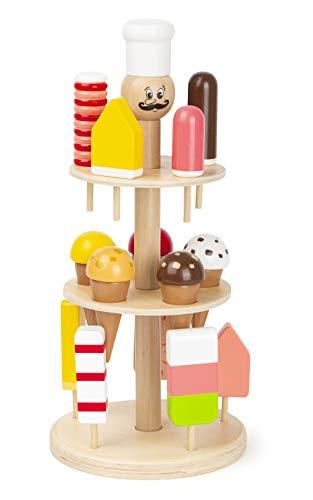 small foot 11488 Eisständer Luigi Gelato aus Holz, Zubehör für Kaufmannsladen und Kinderküche, mit 15 Eissorten Spielzeug, Mehrfarbig