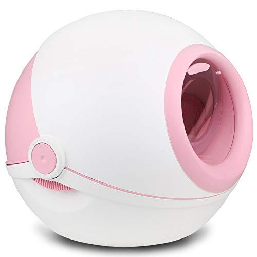 Katzentoilettenschale Voll Geschlossener Flip-Cover Anti-Splash Deo-Katze Mit Elfenball 53,5X21,5X46,5 cm Pink Cover Pink Splash