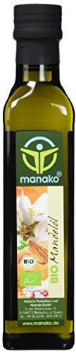 manako BIO Mandelöl, kaltgepresst, 100% rein, 250 ml Glasflasche (1 x 0,25 l)