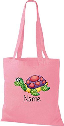 Stoffbeutel mit süßen Motiven inkl. Ihrem Wunschnamen Schildkröte Rosa