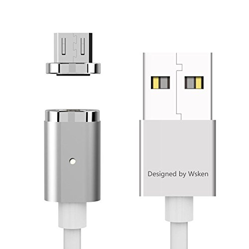 Magnet Micro-USB-Kabel 6FT, nxet® wsken Nylon geflochten Daten Ladegerät Ladekabel mit Metall Plug LED Kontrollleuchte für Samsung Galaxy S2S3S4S6S7Edge, Note 2/3/4/5, Tab S2S, LG G4G3, Sony Xp, silber Galaxy S4 Fällen Mit Akku-pack