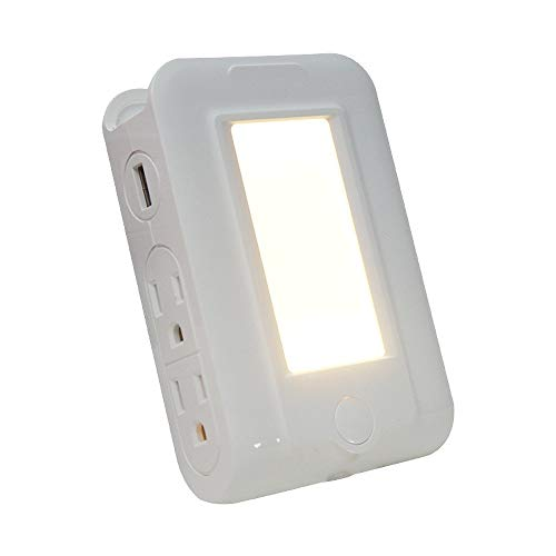 1 stück Wandhalterung Ladegerät Doppel USB Nachtlicht 4 AC Steckdosen Ladestation Überspannungsschutz Steckdose Extender mit Handyhalter - überspannungsschutz-ladestation