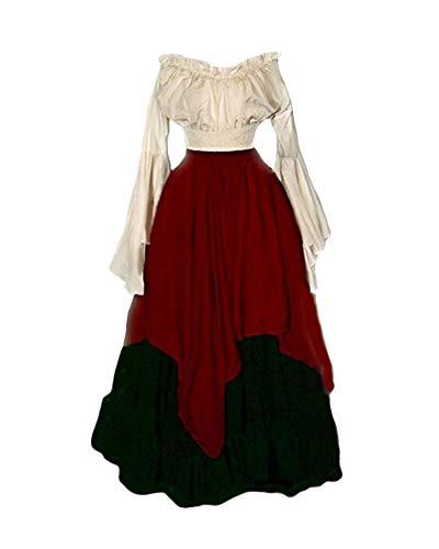 PengGengA Damen Mittelalter Kleid Halloween Party Kostüm Renaissance Maxi Kleider Rot ()