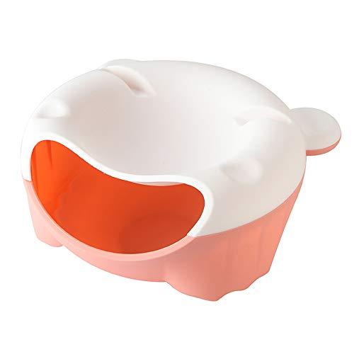 TZZ Desktop Kreative Mülleimer, Haushalt Lazy Melon Barrel Kunststoff Mini Kleine Mülleimer Mini mülleimer Hause kreative Freizeit mülleimer (Farbe : White+Pink)