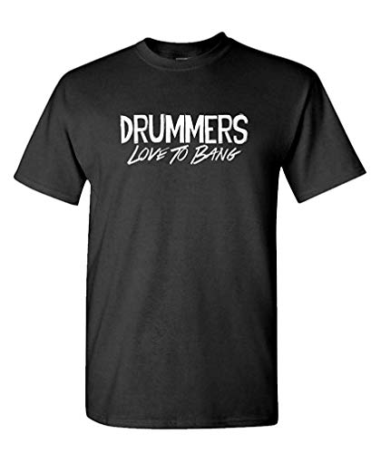 Drummers Love to Bang - Percussion Drum - Mens Cotton T-Shirt L -