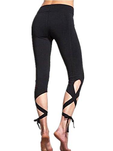 ARESHION - Legging de sport - Skinny - Uni - Femme Noir