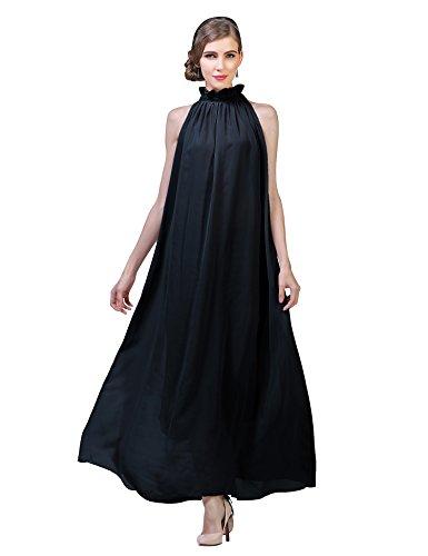 Yacun Frauen Sleeveless Rüschen am Ausschnitt Chiffon Partei Brautjunfer lang Maxi Kleid Black