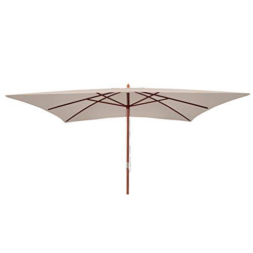 Mendler Sonnenschirm Florida, Gartenschirm Marktschirm, 3x4m Polyester/Holz 6kg ~ Creme