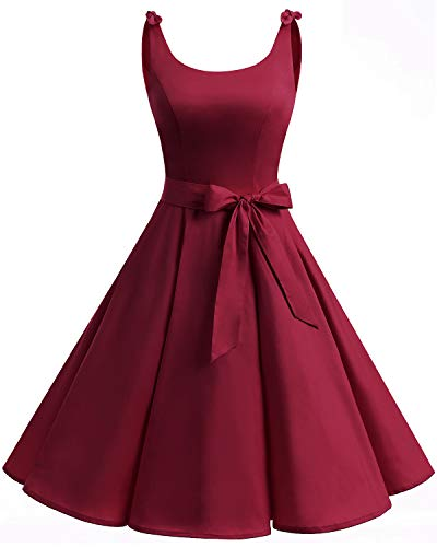 bbonlinedress 1950er Vintage Polka Dots Pinup Retro Rockabilly Kleid Cocktailkleider Deep Red S -