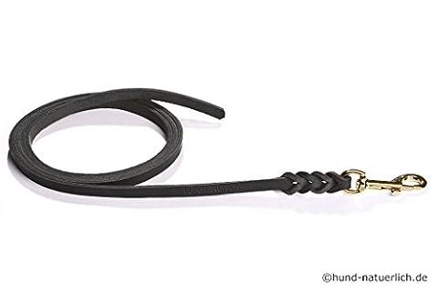 Fettlederleine 7.5m schwarz mit Messing Haken, Schleppleine aus Leder für Hunde (7.5m x 10mm)