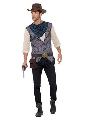 Für Herren Cowboy Kostüm - Smiffys SMIFFY 'S 47245l Rugged Cowboy Kostüm, Herren, Braun, Groß, 42-Blumenkasten