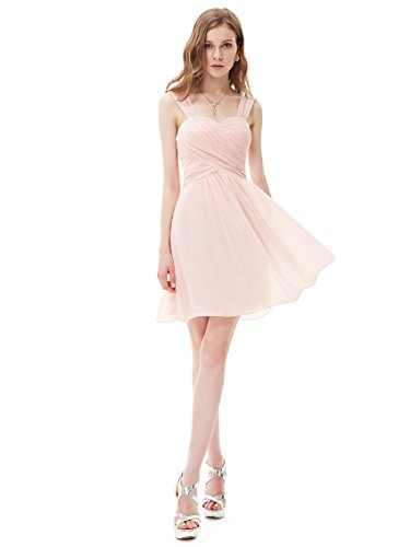 Ever Pretty Damen Faltenwurf Chiffon Knielang Cocktail Brautjungfernkleid 03539 Rosa