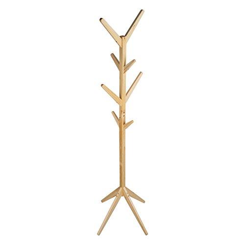TopHomer Massivholz Kleiderständer Garderobenständer Holz Kleiderhaken Gestell Aufhänger 175cm Höhe mit Schlafzimmer Flur(Natürlich)