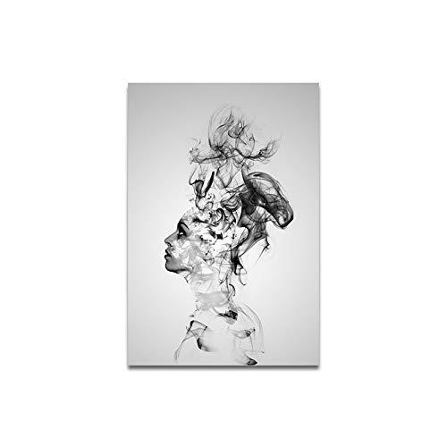 zxddzl personalità Astratta Affumicato Maschio Ragazza Soggiorno Decorativa Tela Pittura Pittura Decorativa Nucleo Pittura a Olio 617 50 * 70 cm